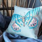 Butterfly Goblen Kırlent 45x45 Cm Açık Mavi