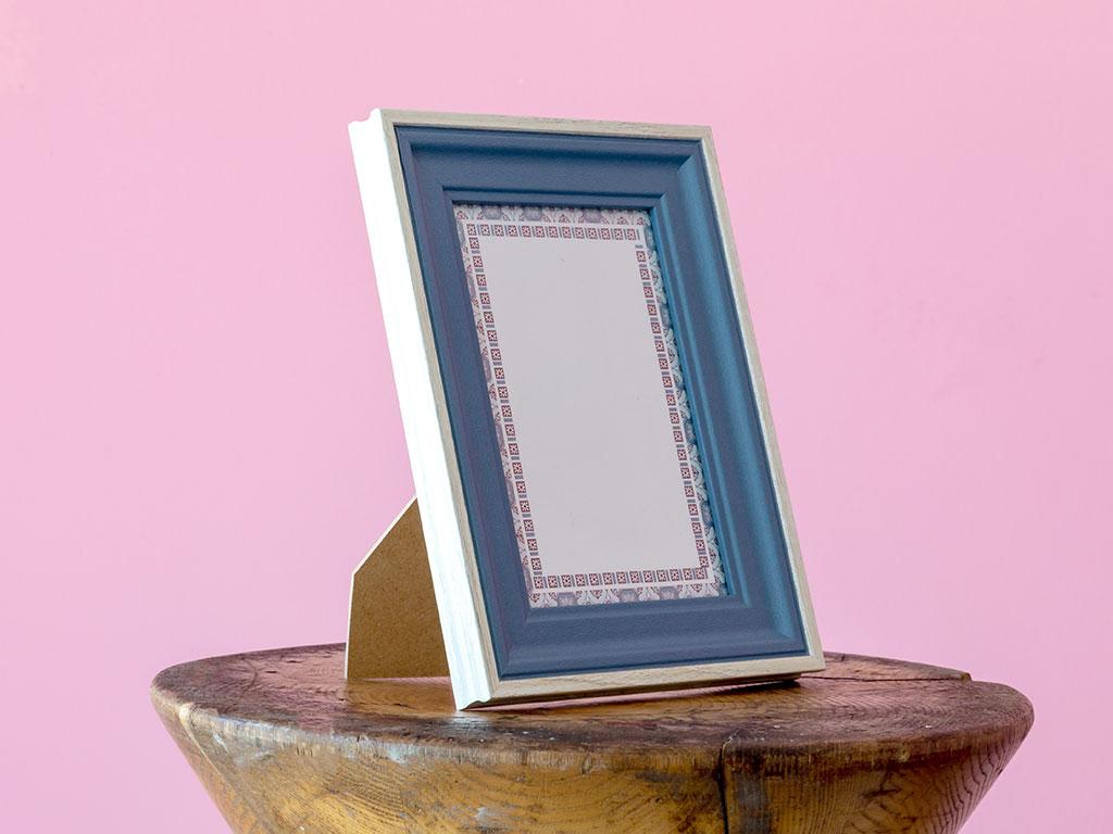 Wooden Çerçeve 10x15 Cm Mavi - Gri