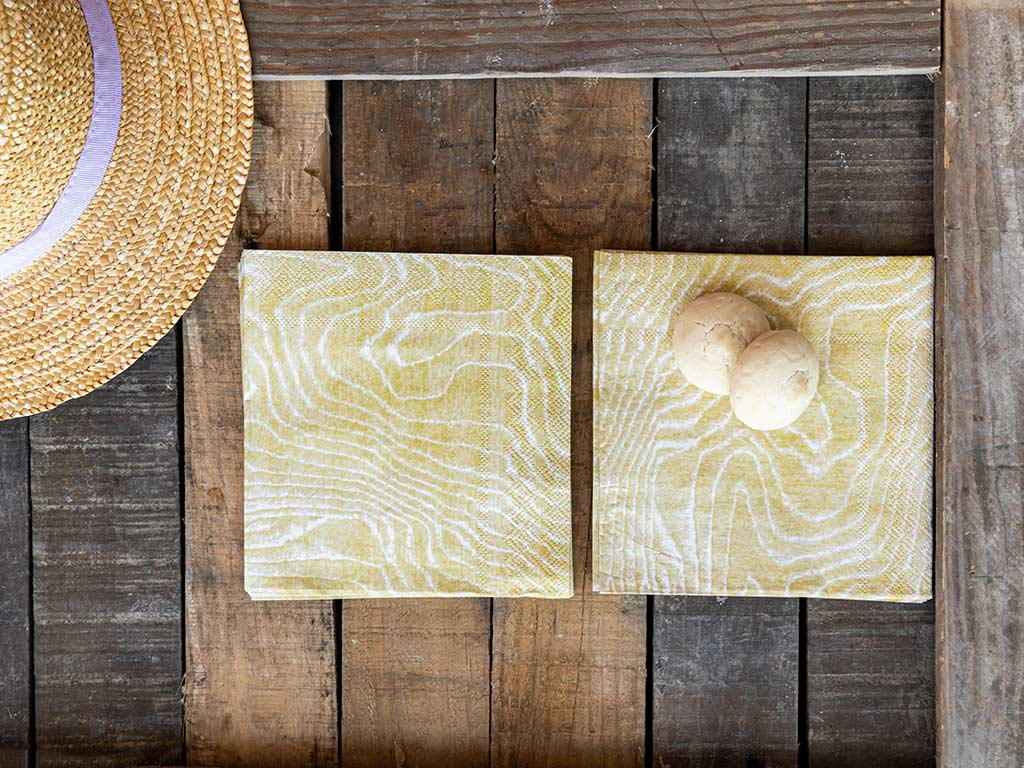 Wooden Kağıt 22 Adet Kağıt Peçete 33x33 Cm Bej
