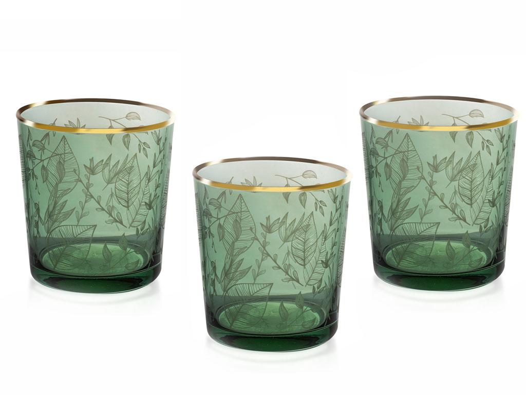 Leaf Cam 3'lü Meşrubat Bardağı 380 Ml Yeşil