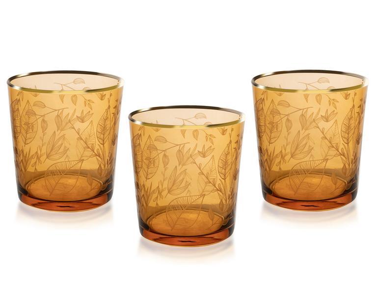 Leaf Cam 3'lü Meşrubat Bardağı 380 Ml Amber
