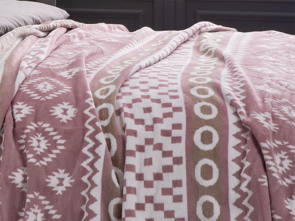 Folk Pamuklu Tek Kişilik Battaniye 150x200 Cm Pembe