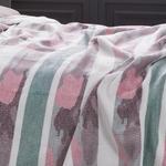 Stripe Pamuklu Çift Kişilik Battanıye 200x220 Cm Seledon