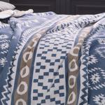 Folk Pamuklu Çift Kişilik Battaniye 200x220 Cm Mavi