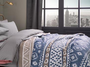 Folk Pamuklu Tek Kişilik Battaniye 150x200 Cm Mavi