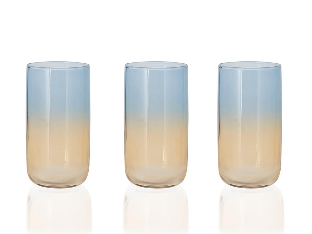Fiori Cam 3'lü Meşrubat Bardağı 365 Ml Mavi