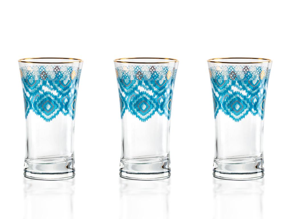 Azura Cam 3'lü Meşrubat Bardağı 300 Ml Mavi