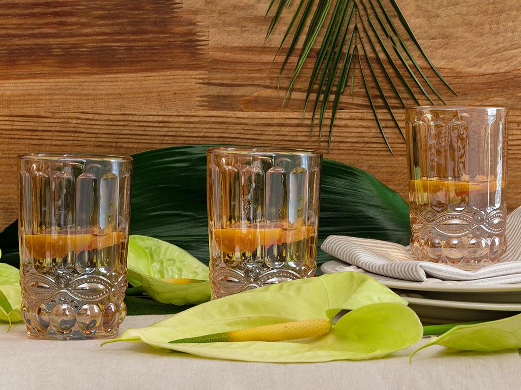 Urbann Cam 3'lü Meşrubat Bardağı 360 Ml Amber
