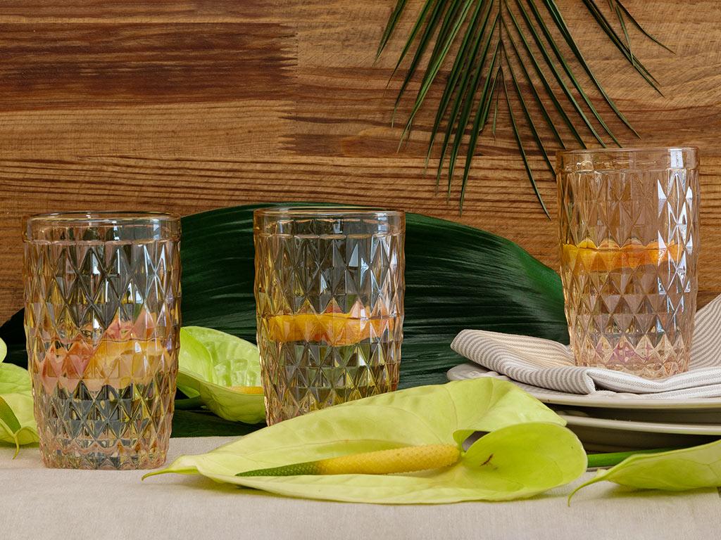 Folk Art Cam 3'lü Meşrubat Bardağı 360 Ml Amber