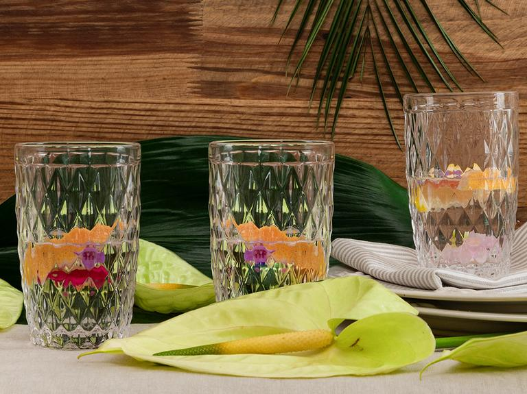 Folk Art Cam 3'lü Meşrubat Bardağı 360 Ml Şeffaf