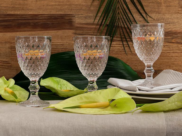 Folk Art Cam 3'lü Ayaklı Meşrubat Bardağı 330 Ml Şeffaf