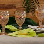 Folk Art Cam 3'lü Ayaklı Meşrubat Bardağı 330 Ml Amber