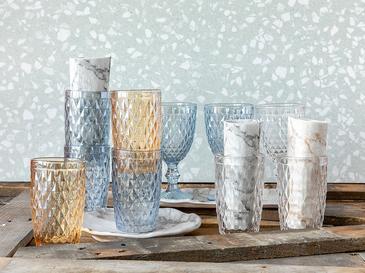 Folk Art Cam 3'lü Meşrubat Bardağı 360 Ml Mavi