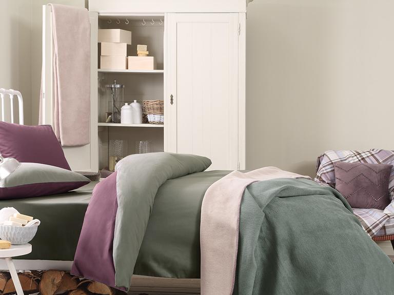 Softy Düz Çift Kişilik Battaniye 200x220 Cm Bej - Yeşil