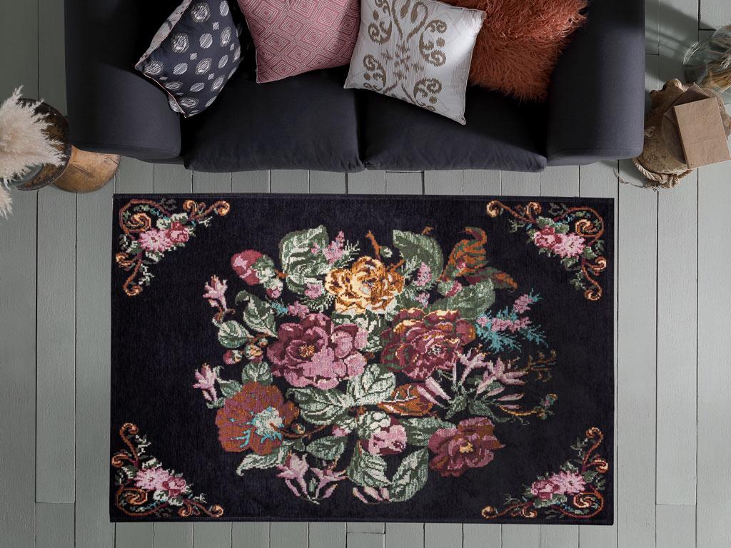 Rosa Şönil Halı 120x180 Cm Siyah