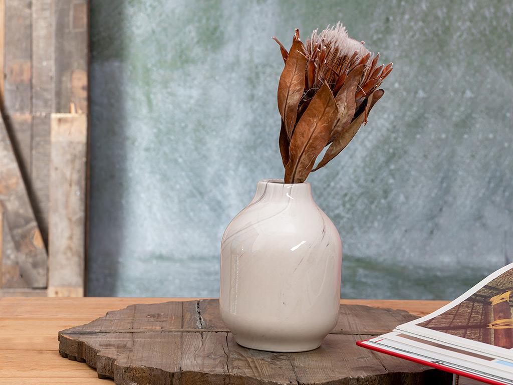 Marbled Vazo 12,5x12.5x17 Cm Beyaz