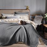 Pure Folk Müslin Çift Kişilik Yatak Örtüsü Takımı 200x220 Cm Gri
