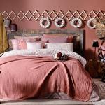 Pure Folk Müslin Çift Kişilik Yatak Örtüsü Takımı 200x220 Cm Tarçın