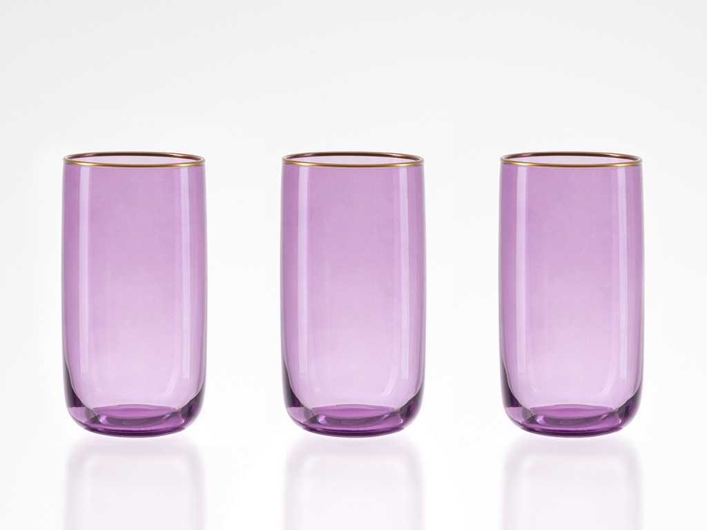 Madle Cam 3'lü Meşrubat Bardağı 365 Ml Mor