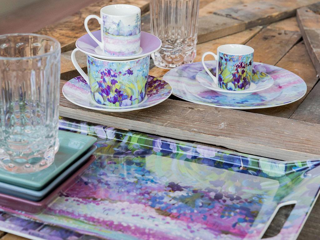 İris Porselen 4 Parça Kahve Fincan Takımı 80 Ml Mor - Lila