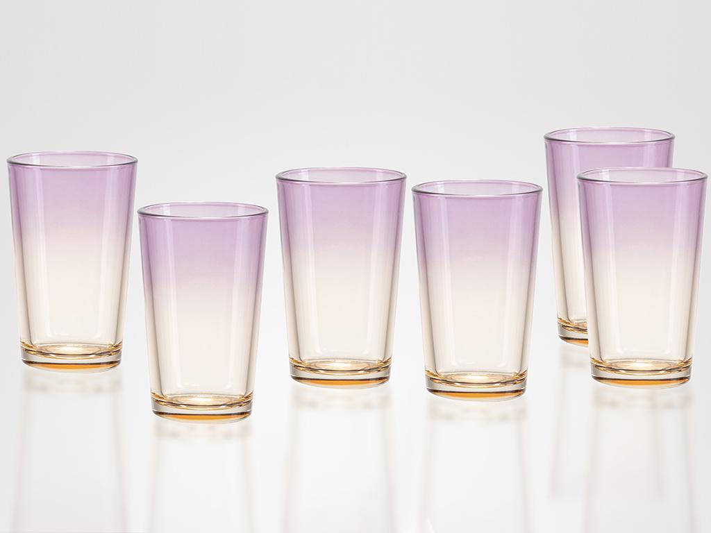 Rolly Cam 6'lı Kahve Yanı Su Bardağı 100 Ml Mor