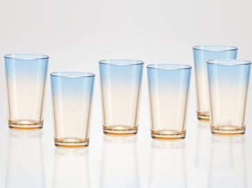 Rolly Cam 6'lı Kahve Yanı Su Bardağı 100 Ml Mavi