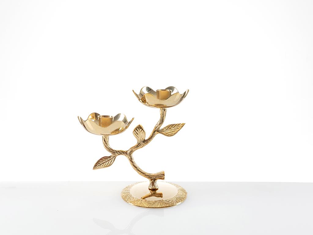 Lace Rose 2 Kafalı Şamdan 10x10x17 Cm Gold