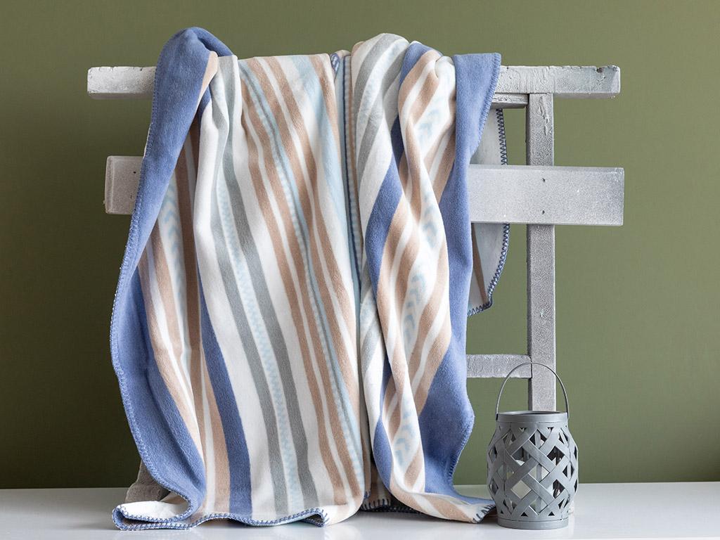 Pure Stripe Pamuklu Tek Kişilik Battaniye 150x200 Cm Mavi