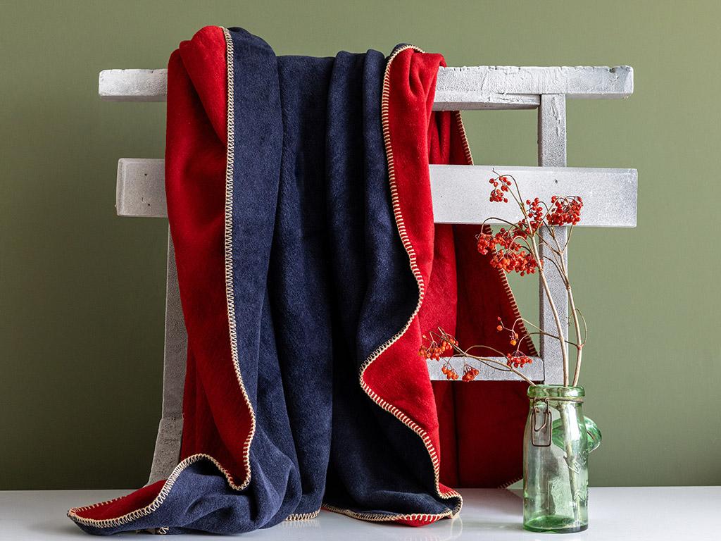 Softy Düz Çift Kişilik Battaniye 200x220 Cm Kırmızı - Lacivert