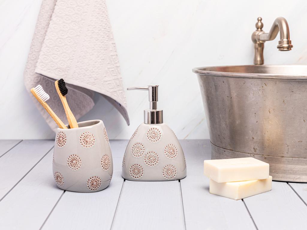 Soft Bath 2'li Banyo Seti 11,2x8,2x16cm 9,5x8,3x10,5cm Açık Gri