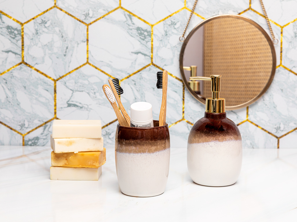 Soft Bath 2'li Banyo Seti 9,1x9,1x18,1cm 8,5x8,5x11cm Gri
