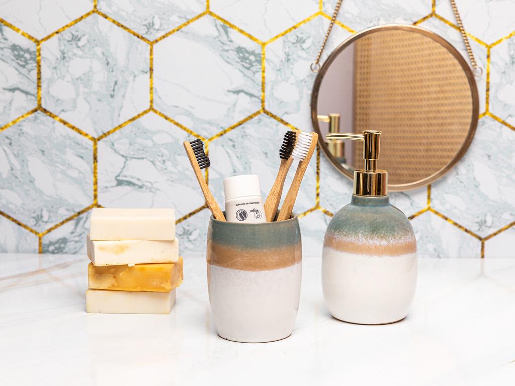 Soft Bath 2'li Banyo Seti 9,1x9,1x18,1cm 8,5x8,5x11cm Mavi