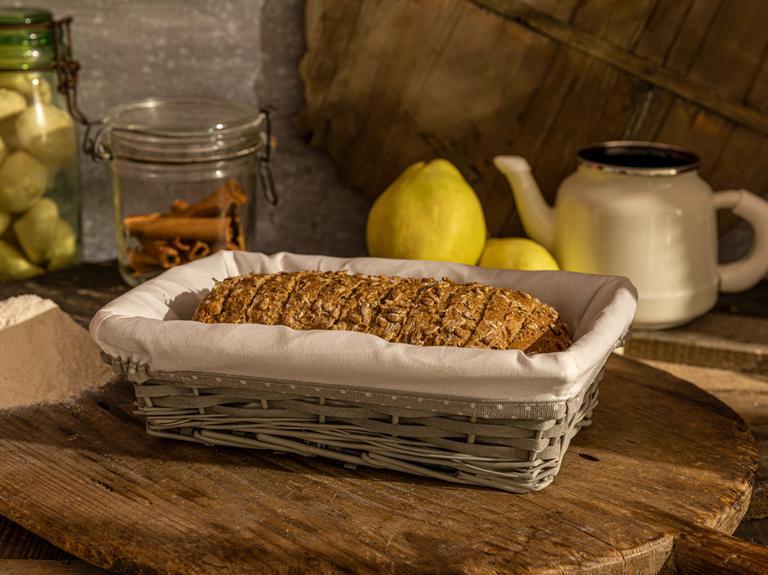 Urban Hasır Dikdörtgen Ekmek Sepeti 28x18x9 Cm Gri