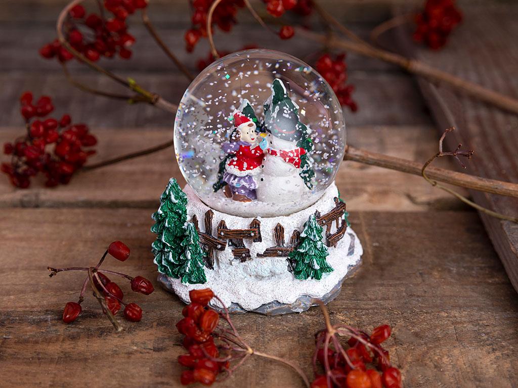 Snowman Kar Küresi 7,5x7,5x9 Cm Beyaz