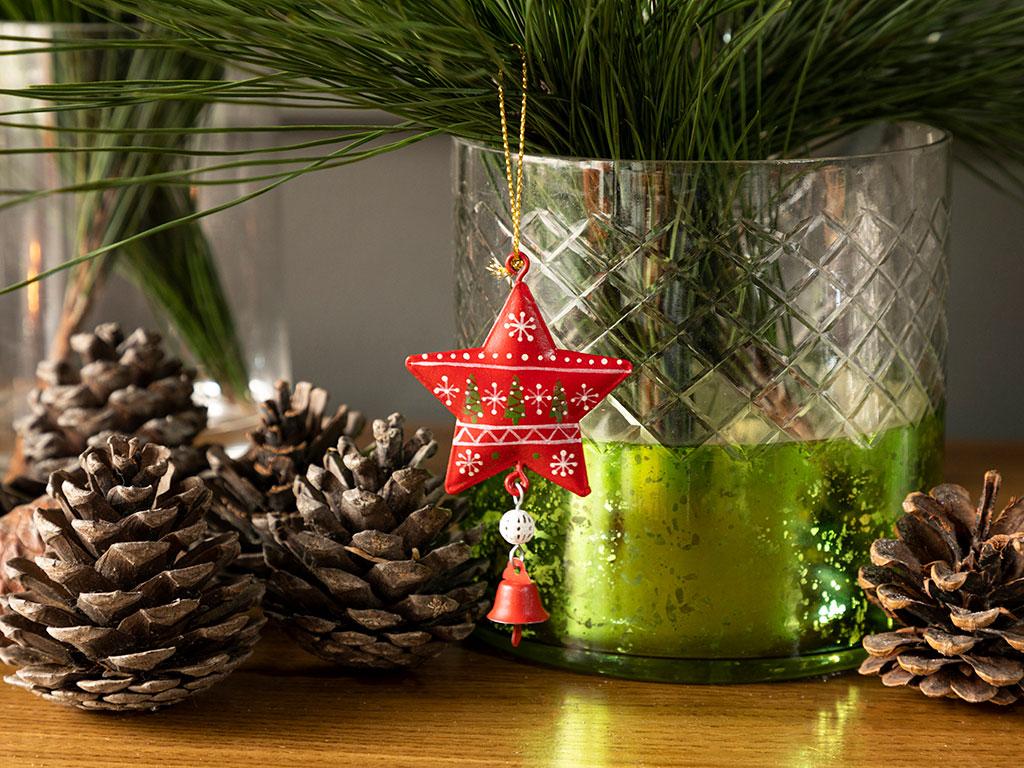 Happy Winter Askılı Aksesuar 5x8,5 Cm Kırmızı - Yeşil