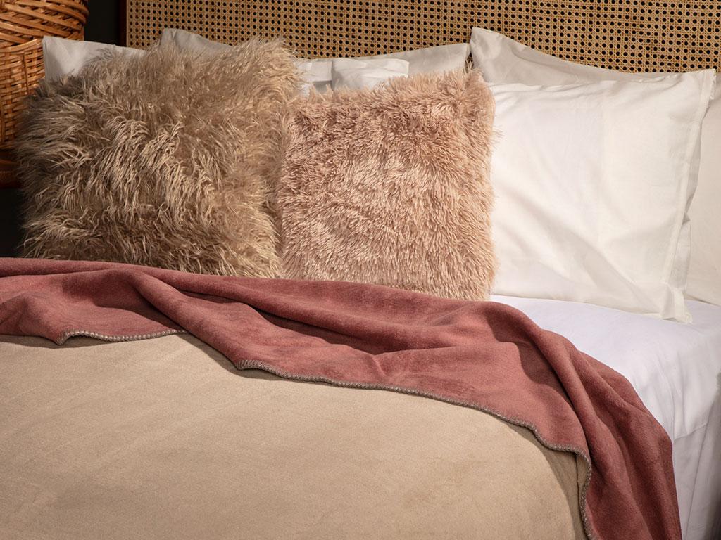 Softy Düz Çift Kişilik Battaniye 200x220 Cm Bej - Pembe