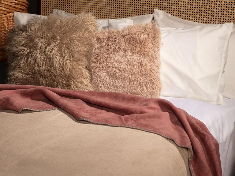 Softy Düz Tek Kişilik Battaniye 150x200 Cm Bej - Pembe
