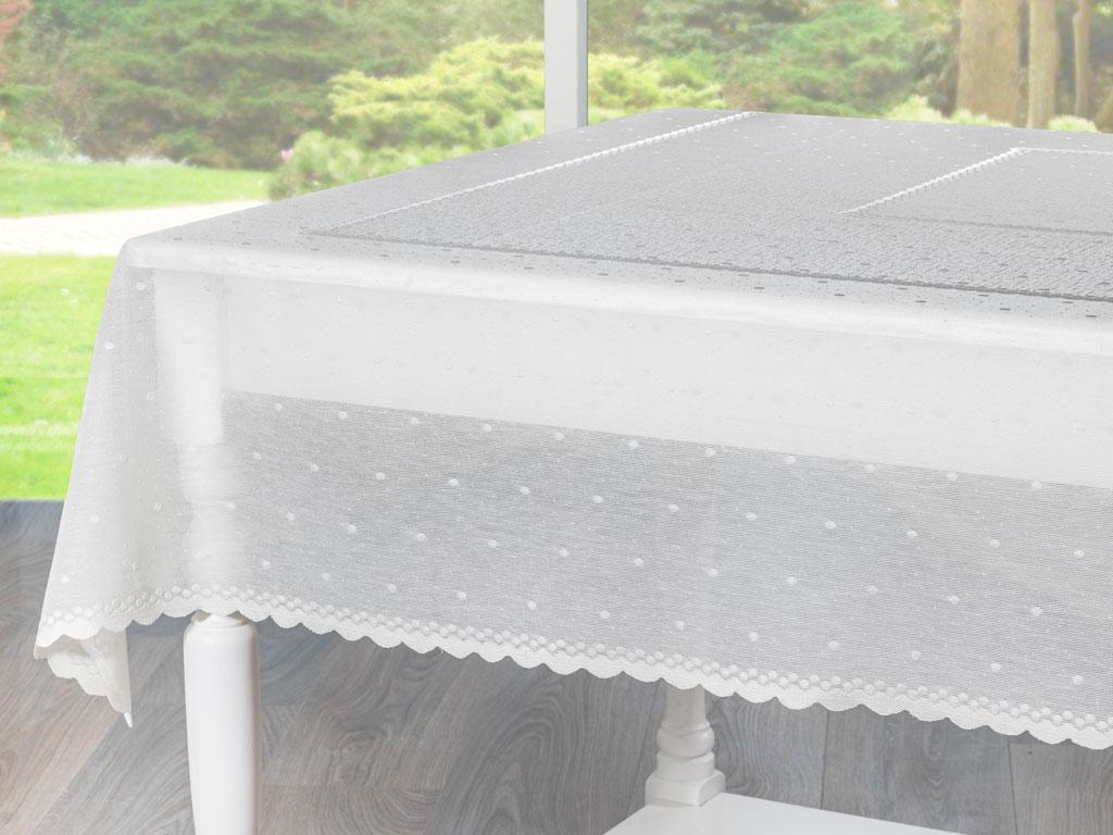 Linen Örme Masa Örtüsü 150x180 Cm Taş Rengi