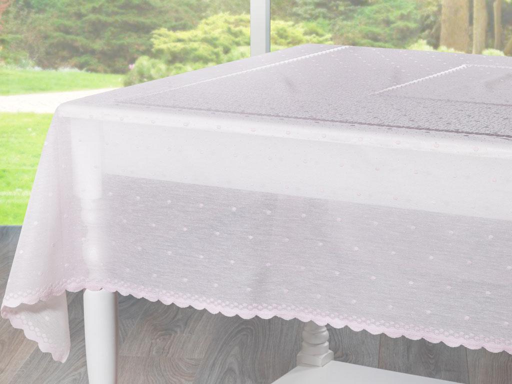 Linen Örme Masa Örtüsü 150x180 Cm Açık Pembe