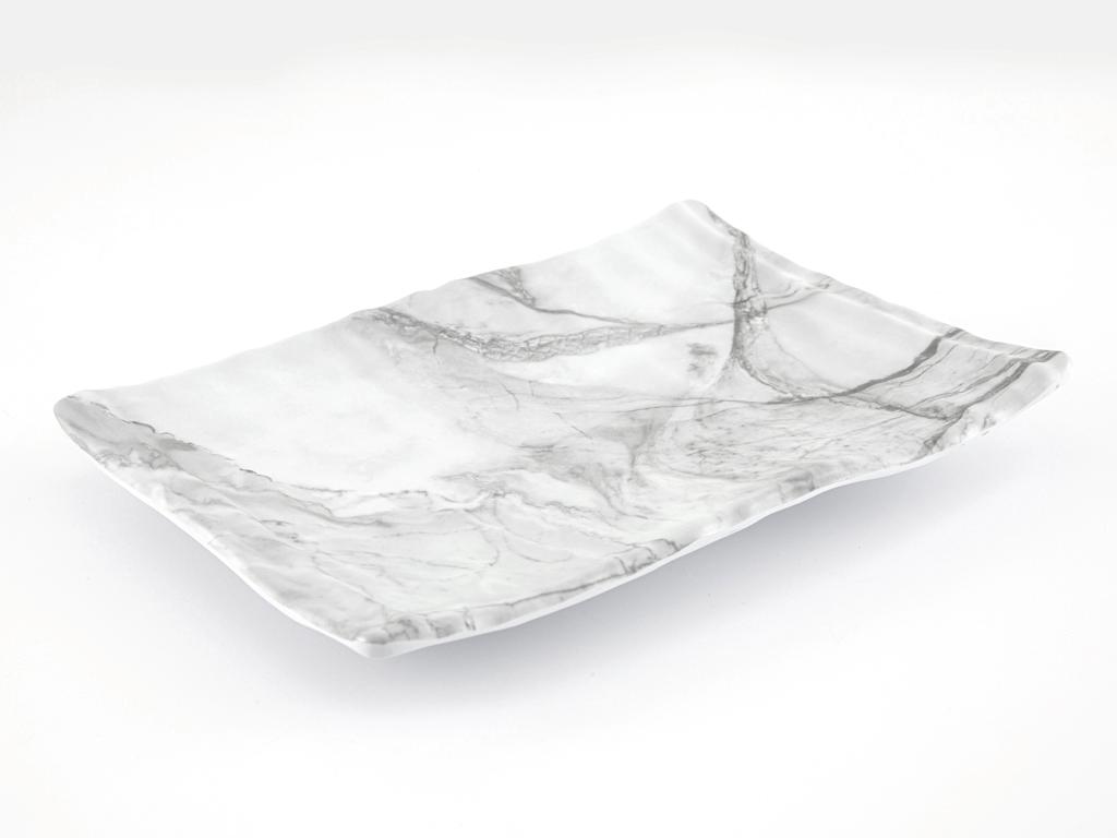 Wooden Melamin Dikdörtgen Büyük Servıs Tabağı 31x22 Cm Beyaz - Gri