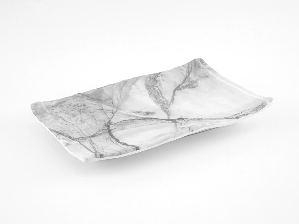 Folk Art Melamin Dikdörtgen Küçük Servıs Tabağı 26x16 Cm Beyaz - Gri