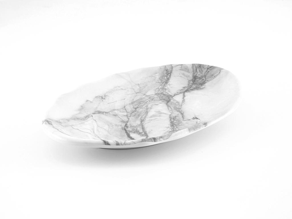 Girdwood Melamin Oval Servıs Tabağı 31x21,5 Cm Beyaz - Gri
