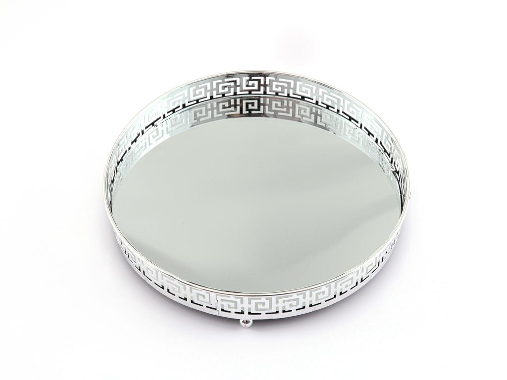 Vintage Dekoratif Tepsi 21x21x3,7 Cm Gümüş