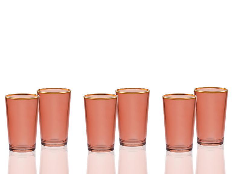 Tanya Cam 6'lı Kahve Yanı Su Bardağı 100 Ml Gül Kurusu