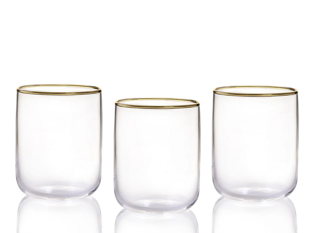 Pine Cam 3'lü Meşrubat Bardağı 270 Ml Gold
