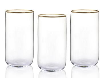Peony Cam 3'lü Meşrubat Bardağı 365 Ml Gold