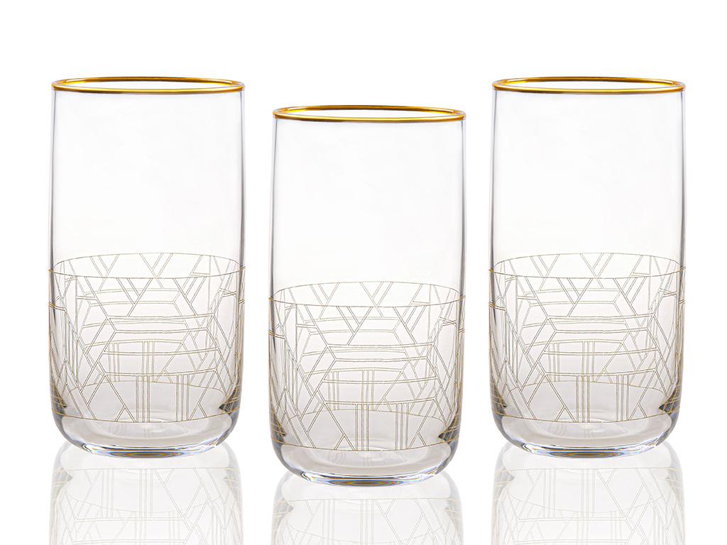 Robin Cam 3'lü Meşrubat Bardağı 365 Ml Gold