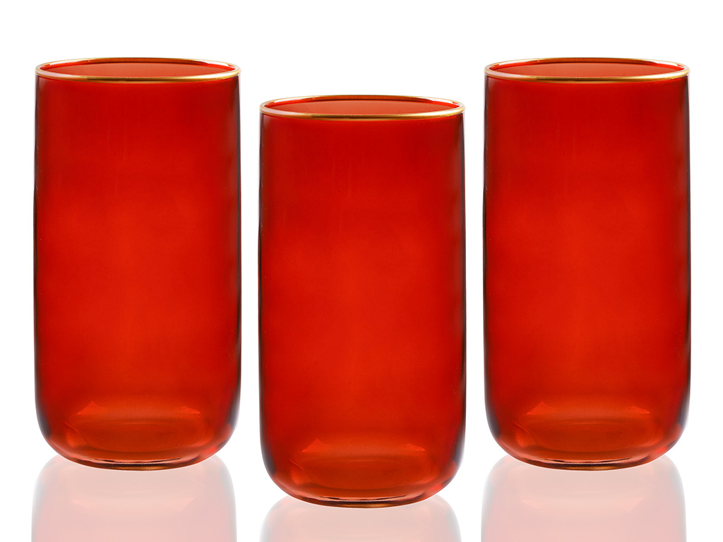 Line Cam 3'lü Meşrubat Bardağı 365 Ml Kırmızı