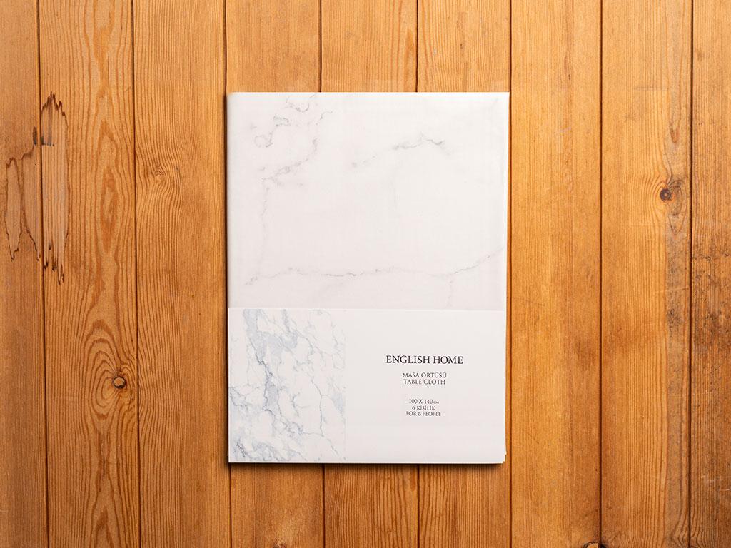 Marble Pvc Dikdörtgen Masa Örtüsü 100x140 Cm Beyaz