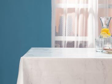 Marble Pvc Dikdörtgen Masa Örtüsü 200x140 Cm Beyaz